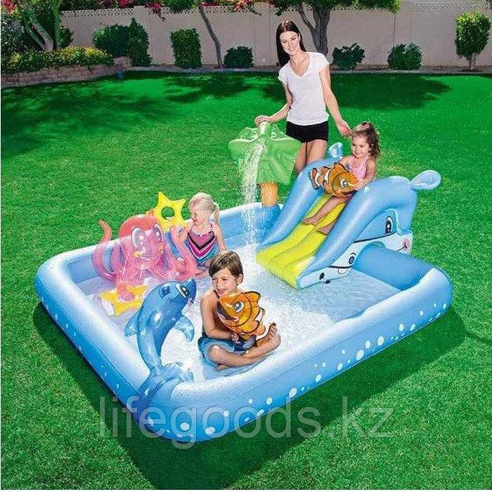 """Надувной игровой бассейн """"Фантастический аквариум"""" с горкой, Bestway 53052"""