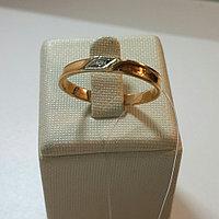 Кольцо с фианитом / красное золото