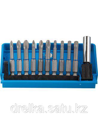 Набор бит для шуруповерта ЗУБР 26091-H11, биты из хромомолибденовой стали, 10 бит - обточенные 50 мм, адаптер