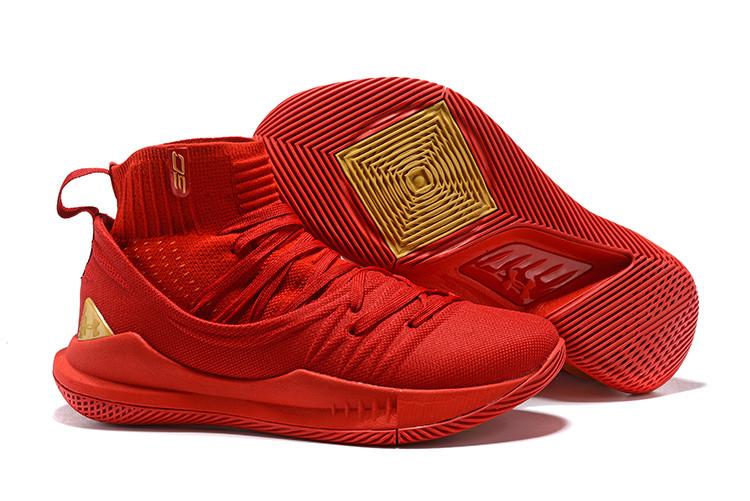"""Баскетбольные кроссовки Under Armour Curry V """"Red/Gold"""" Mid (40-46)"""