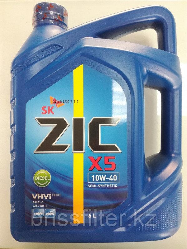 Моторное полусинтетическое масло ZIC X5 Diesel 10w40 6л