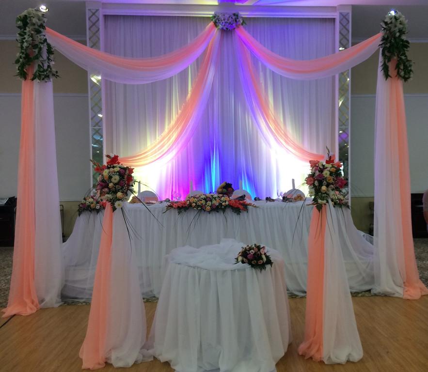 Оформление свадьбы в персиковом цвете в зале Princess Hall