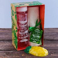 "Набор ""Perfect day"", бутылка для воды (500 мл), полотенце (30 х 30 см), мыло"