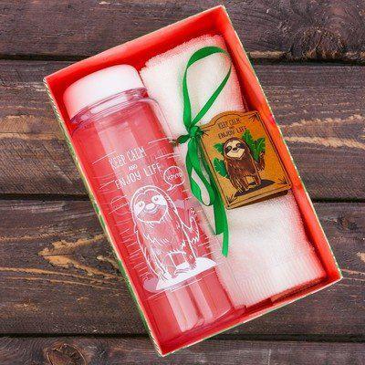 """Набор """"Keep calm"""", бутылка для воды (500 мл), полотенце (30 х 30 см)"""