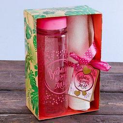 "Набор ""Важен каждый миг"", бутылка для воды (500 мл), полотенце (30 х 30 см)"
