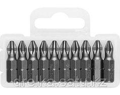 Биты ЗУБР для шуруповерта, кованые, хромомолибденовая сталь, тип хвостовика C 1/4, 25 мм, 10 шт.