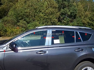 Комплект Молдингов на окна и стойки дверей RAV4 (XA40) 2015 - Н.В