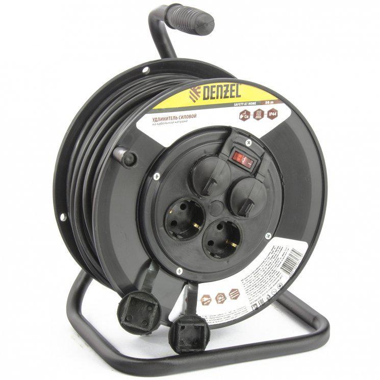 Удлинитель силовой на кабельной катушке, 50м, 4 розетки с крышкой, IP44, 16А, серия УХз16// DENZEL