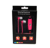 Наушники светящиеся вакуумные металлические Glowing Earphone (Розовый)