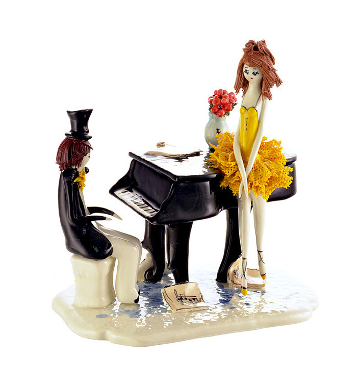 Статуэтка Пара у рояля. Ручная работа, Италия