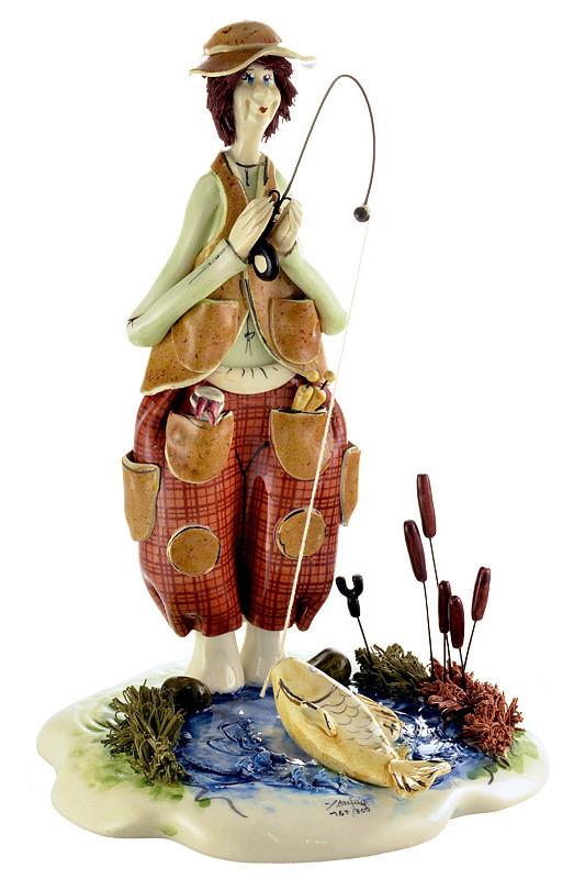 Статуэтка Рыбак. Керамика, ручная работа, Италия