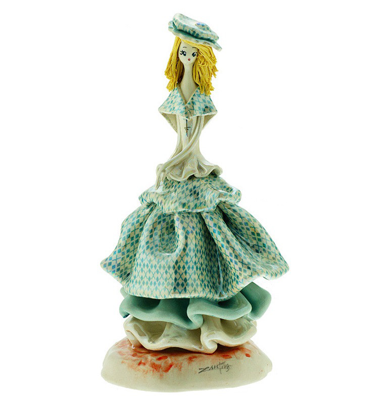 Статуэтка Леди в голубом платье. Керамика, Италия, ручная работа