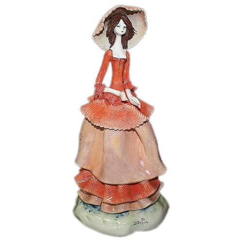 Статуэтка Леди в красном. Керамика, Италия, ручная работа