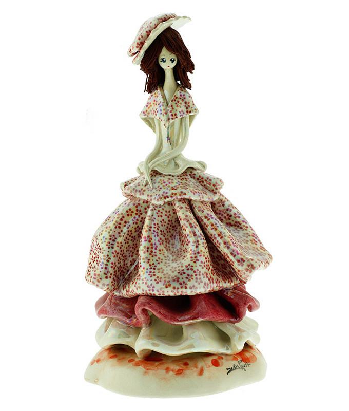 Статуэтка Леди в шляпке. Керамика, Италия, ручная работа