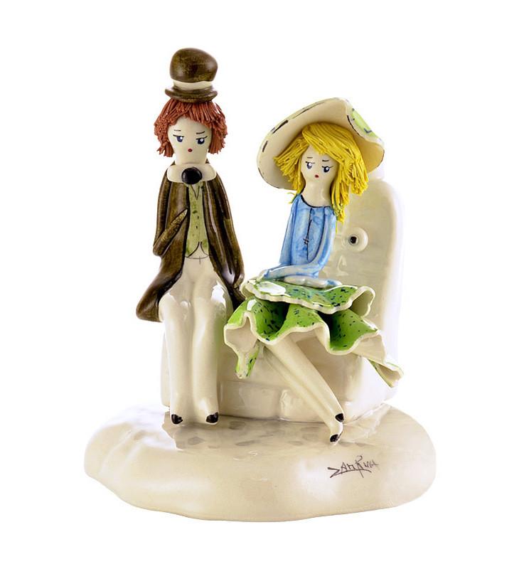 Статуэтка Влюбленная пара. Италия, ручная работа, керамика.