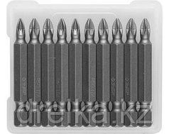 Биты ЗУБР для шуруповерта, кованые, хромомолибденовая сталь, тип хвостовика E 1/4, 50 мм, 10 шт.