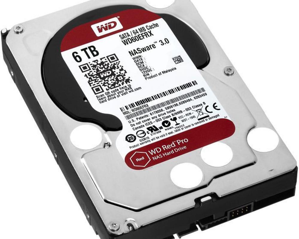Жесткий диск внутренний Western Digital (WD) Red (6Тб (6000Гб), HDD, 3,5″, Для систем хранения (СХД), SATA)