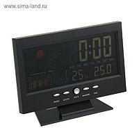 Будильник LuazON LB-15, дата, температура, черный