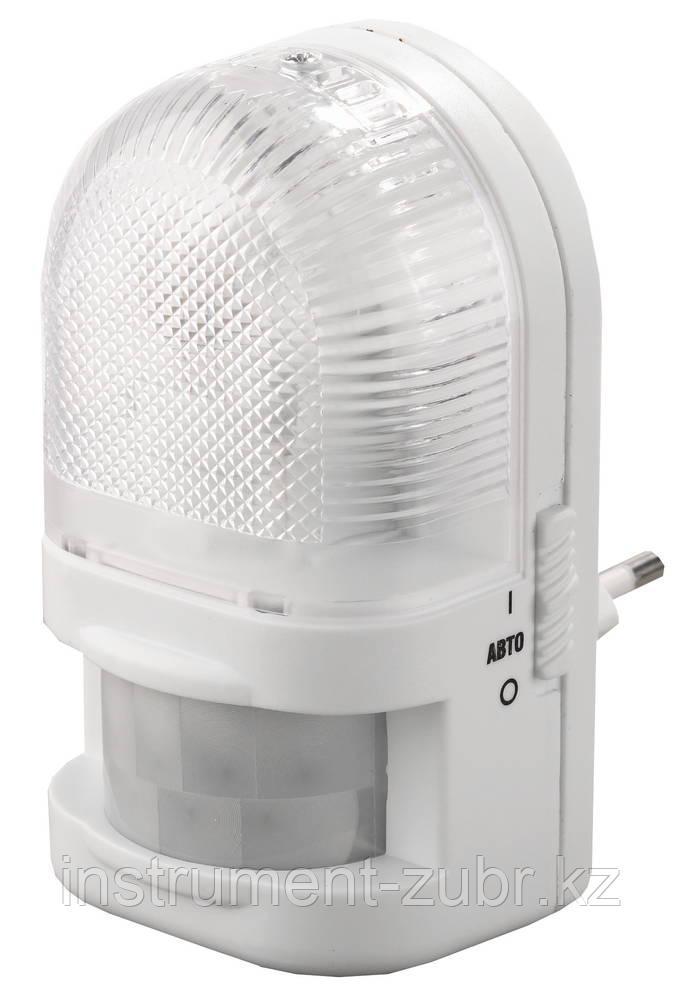 Светильник-ночник СВЕТОЗАР с датчиком движения, ЛОН-лампа, с выключателем, 7W, цветовая температура 2700К