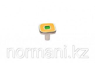 Ручка-кнопка, отделка никель глянец + жёлтый + зелёный