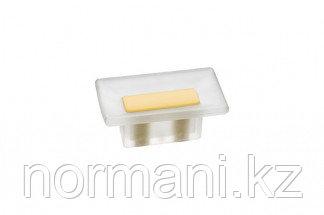 Ручка-кнопка 16 мм, отделка транспарент матовый + жёлтый