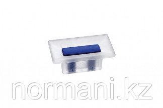 Ручка-кнопка 16 мм, отделка транспарент матовый + синий