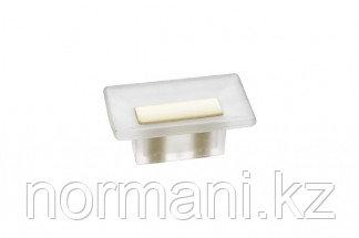 Ручка-кнопка 16 мм, отделка транспарент матовый + кремовый