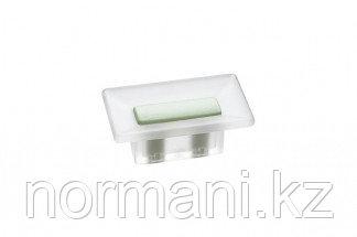 Ручка-кнопка 16 мм, отделка транспарент матовый + светло-зелёный