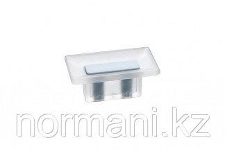 Ручка-кнопка 16 мм, отделка транспарент матовый + светло-голубой