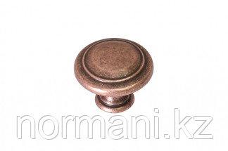 Мебельная ручка кнопка, замак, цвет медь античная кантри