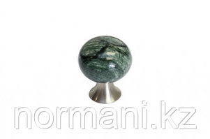 Ручка-кнопка, отделка Сатин + мрамор зеленый