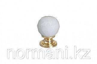 Ручка-кнопка, отделка золото глянец + белое стекло