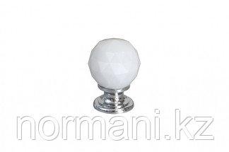 Ручка-кнопка, отделка хром глянец + белое стекло