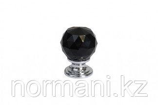 Ручка-кнопка, отделка хром глянец + черное стекло