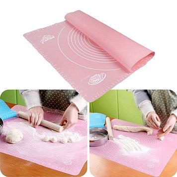Силиконовый кулинарный коврик 40х50 см, цвет розовый