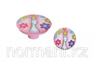 """Ручка-кнопка, отделка розовая """"Лошадь"""""""