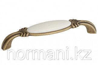 """Мебельная ручка скоба, замак, размер посадки 128мм, бронза античная """"Флоренция"""" + керамика"""
