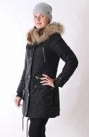 Куртка-парка женская burberry с капюшоном и мехом