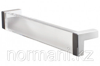 Ручка-скоба 160 мм, отделка хром матовый + транспарент прозрачный