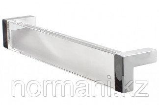 Ручка-скоба 160 мм, отделка хром глянец + транспарент прозрачный