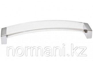 Ручка-скоба 224 мм, отделка хром матовый + транспарент прозрачный