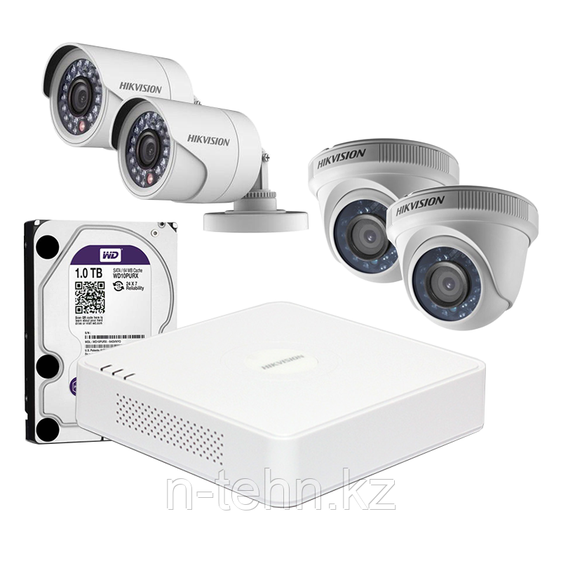 Hikvision DS-J142I Комплект видеонаблюдения (HD TVI 4 Видеокамеры+ Видеорегистратор)