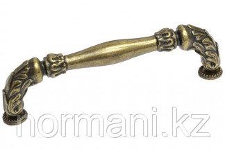 Мебельная ручка скоба, замак, размер посадки 128 мм, цвет бронза английская