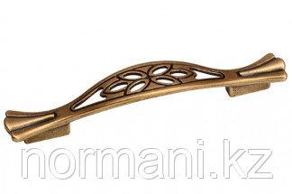 Мебельная ручка скоба, замак, размер посадки 128-096 мм, цвет бронза античная французская