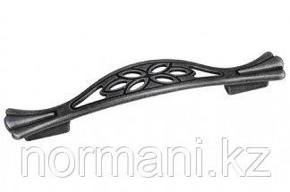 Мебельная ручка скоба, замак, размер посадки 128-096 мм, цвет железо античное чёрное