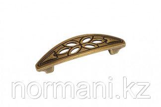 Мебельная ручка скоба, замак, размер посадки 64 мм, цвет бронза античная французская