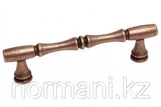 Мебельная ручка скоба, замак, размер посадки 96 мм, цвет медь античная кантри
