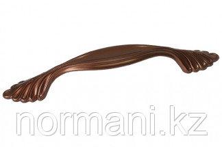 Мебельная ручка скоба, замак, размер посадки 128 мм, цвет медь Сиена