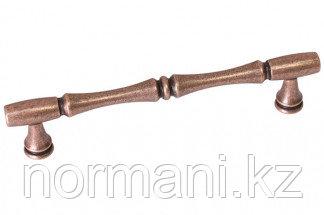 Мебельная ручка скоба, замак, размер посадки 128 мм, цвет медь античная кантри
