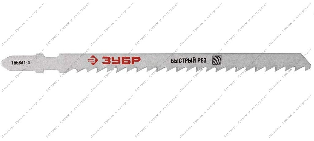 """(15590-4) Пилки ЗУБР """"ЭКСПЕРТ"""" для эл/лобзика, Cr-V, по дереву, EU-хвостовик, шаг 4мм, 75мм, 3шт"""